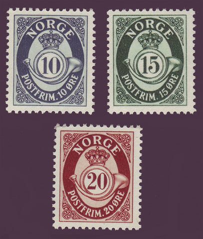 NO0307-091 Norway Scott # 307-09 MNH - Posthorn 1950-51