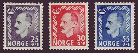 NO0322-242 Norway Scott # 322-24 VF MNH** - Haakon VI 1951-52