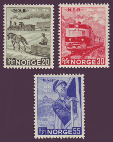 NO0331-331 Norway Scott # 331-33 VF MH - Railway Centenary 1954