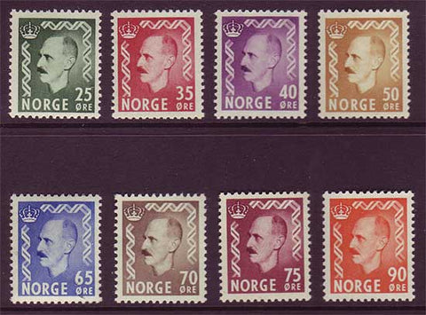 NO045-52 Norway Scott # 345-52 MNH**  King Haakon VII 1955-57