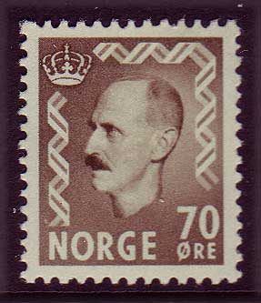 NO03502 Norway Scott # 350 MH,  King Haakon II - 1955-57