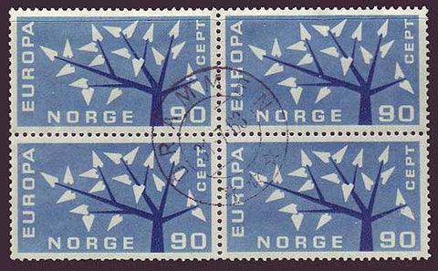 NO0415x45 Norway Scott # 415 used block, Europa 1962