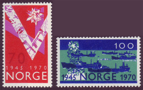 NO0555-561 Norway Scott # 555-56 MNH**  ''V'' for Victory 1970
