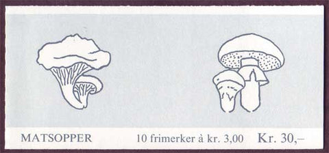 NO0889a Norway booklet Scott # 889a, Mushrooms III 1989