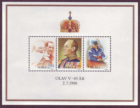 NO09311 Norway  Scott # 931 MNH, 85th Birthday of King Olav V 1988