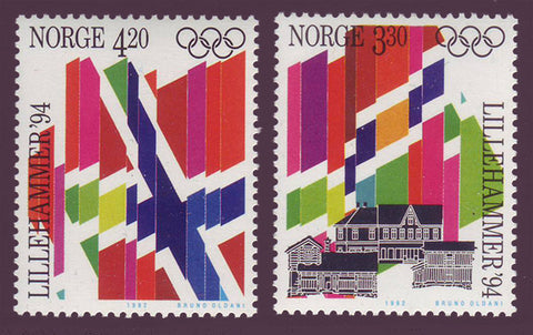 NO1029-301 Norway Scott # 1029-30 MNH, Lillehammer Winter Olympics - 1992