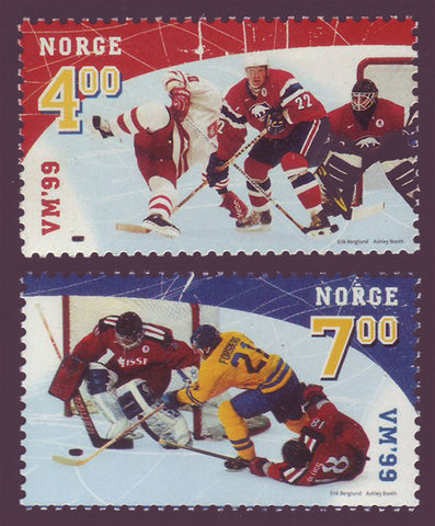 NO1222-231 Norway Scott # 1222-23 MNH, Hockey World 1999