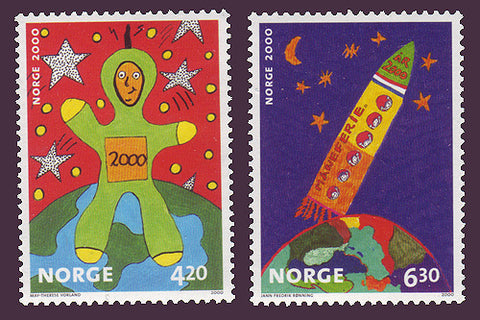 NO1264-651 Norway Scott # 1264-65 MNH, Children's Art 2000