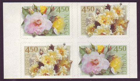 NO1273a1 Norway Scott # 1273a MNH, block of 4 Roses 2000