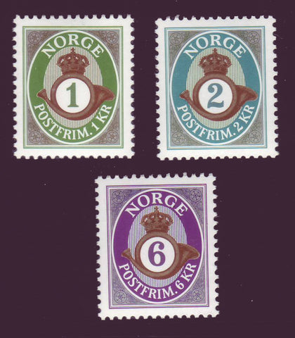 NO1283, 84, 87 Norway Redrawn Posthorn Type 2001-2006
