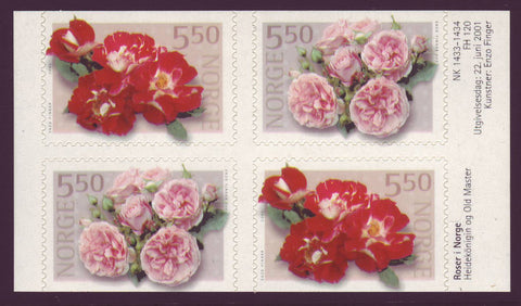 NO1304a Norway Scott # 1304a MNH, block of 4 Roses 2001