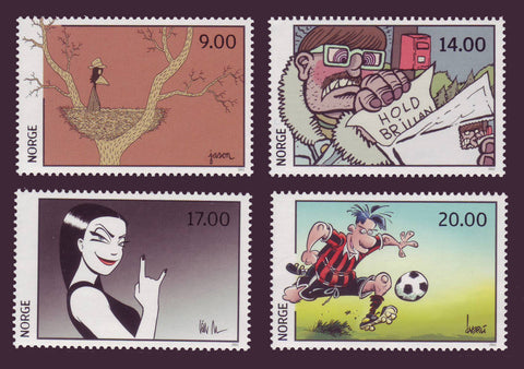 Colourful set of 4 stamps from Norway featuring comic strip characters.