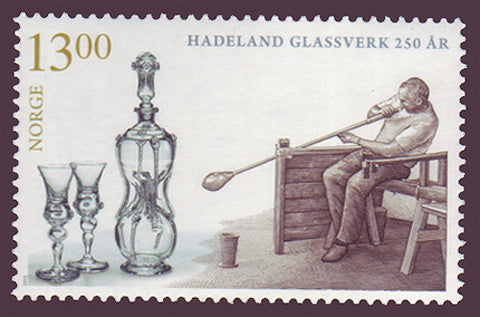 Norway stamp sowing an artisan glassblower and his finished work.