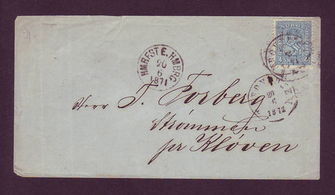 NO5000GC Norway Scott #14 on cover to Strommen 1871