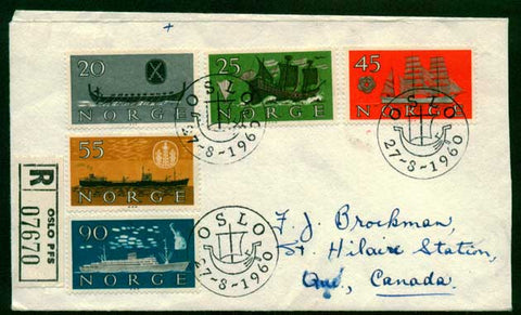 NO5003 Norway Scott # 382-86, Registered FDC to Canada