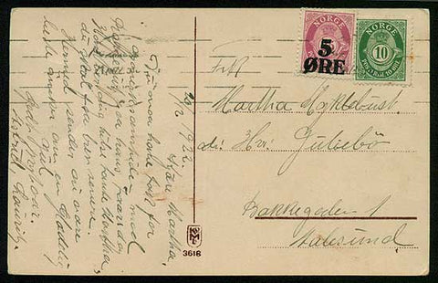 NO5006 Norway post card, machine cancelled 20.12.1922