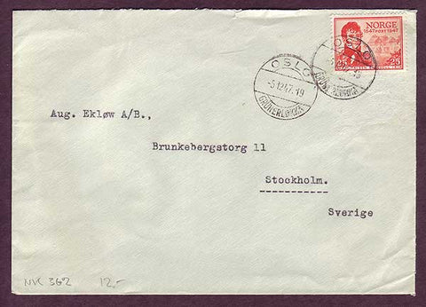 NO5016PE Norway Scott # 282 on business mail to Sweden,         5.12.1947