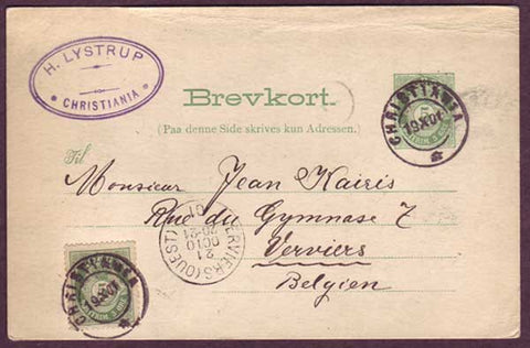 NO5020PE Norway Postal card to Belgium 19.10.1901
