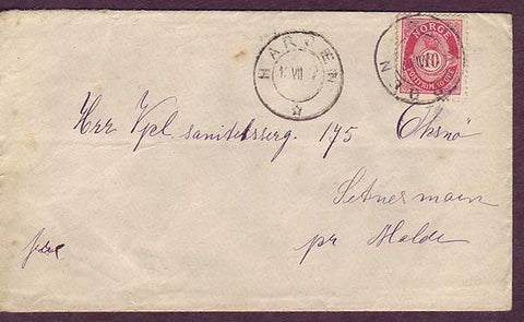 NO5021 Norway Domestic mail postmarked Harøen 18.07.1907
