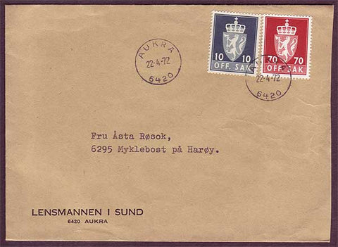 NO5029 Norway Scott # O66,O89 - Auka 22.4.72