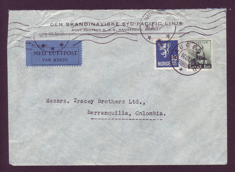 aNO5038 Norway,  Air Mail letter to Colombia, South America 1938