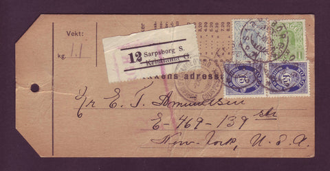 NO5041 Norway, Parcel Tag / Customs Declaration to the USA - 1926