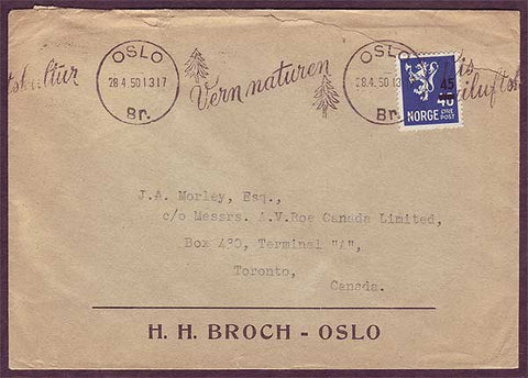 NO5052PH Norway,    Business mail to Canada 1950