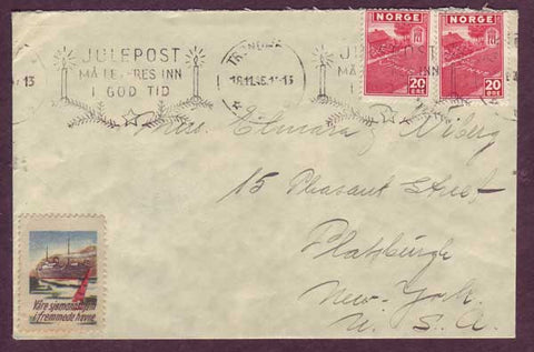 NO5076PH Norway, Letter to USA with Charity Label 1945