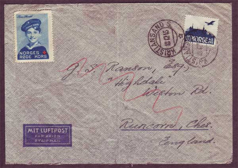 NO5078PH Norway Airmail letter with Red Cross label 18.12.1945