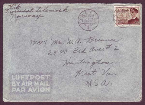 NO5083PH Norway, Air Mail letter to USA with enclosure -1947