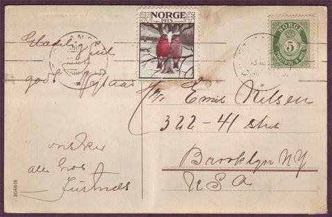 NO5086PH Norway Postcard to USA with 1913 Christmas seal tied