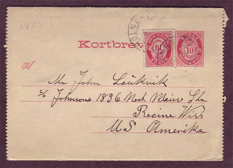 NO5088PH Norway Letter card to USA 1911
