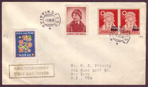 NO5091PH Norway First Day Cover, Red Cross Relief Fund 1948