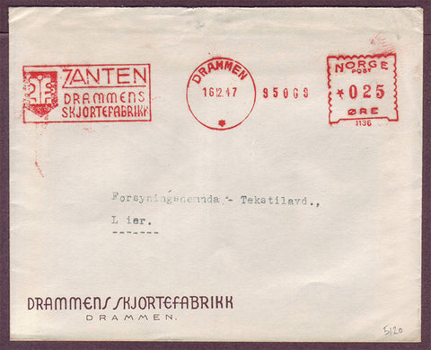 NO5120PH Norway, Zanten Advertising Cover with trade mark machine cancel 1947
