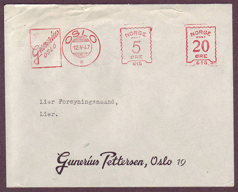 NO5121PH Norway - Illustrated Advertising Cover, Oslo 12.5.1947