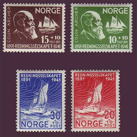 Norwegian stamp showing ship designer Colin Archer and one of his lifeboats .