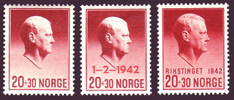 NOB25-272 Norway Scott # B25-27 VF MH, Vidkun Quisling 1942