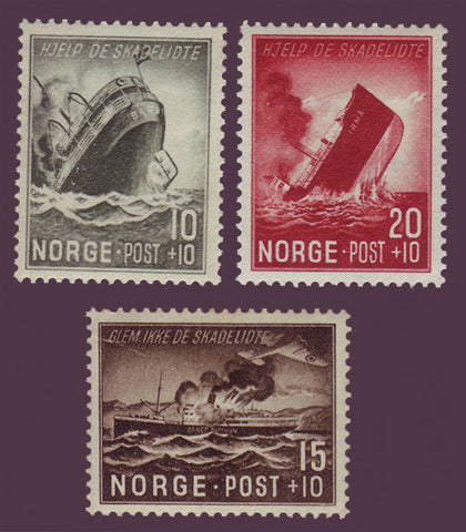 NOB35-72 Norway Scott # B35-37 MNH, Wartime Sinkings 1944