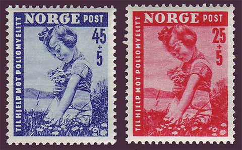 NOB48-49 Norway Scott # B48-49 VF MH, Polio Victims 1950