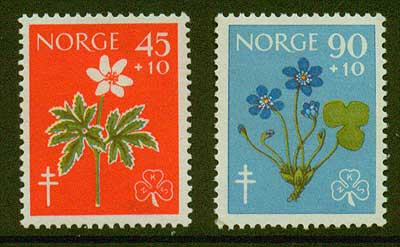 NOB62-631 Norway               Scott # B62-63 MNH**      Wild Flowers 1960