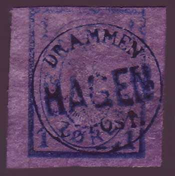NODram22x5 Norway Local Bypost,  Drammens Bypost I (1869-88)