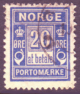 NOJ05a5 Norway Scott # J5a used, Postage Due ''at betala'' 1899
