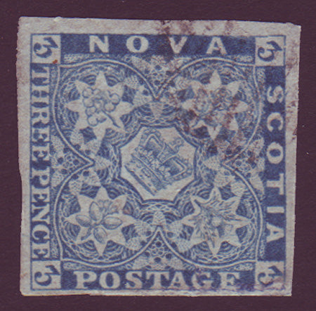 NS025.1      Nova Scotia # 2 blue VF Used 1851