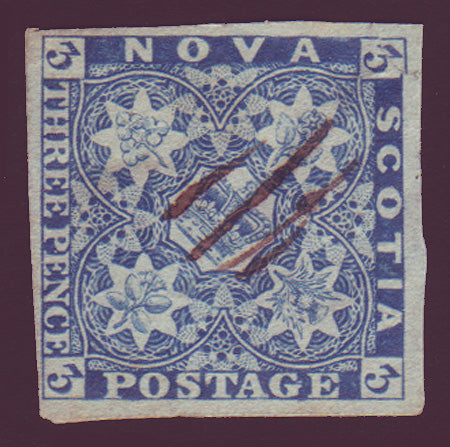 NS025.2      Nova Scotia # 2 blue VF Used 1851
