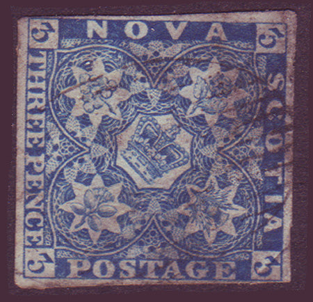 NS025      Nova Scotia # 2 blue F+ Used 1851