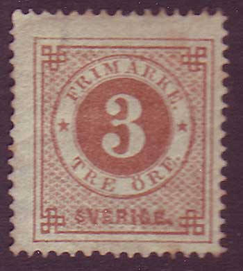 SW00175 Sweden Stamp # 17 F MH, Ring Issue 1872-77