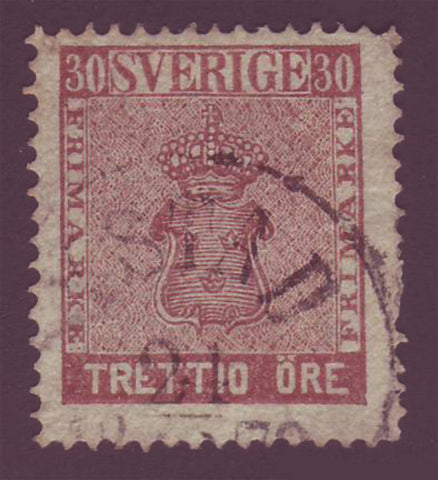 SW00115 Sweden Scott # 11 Used, Coat of Arms 1858-62