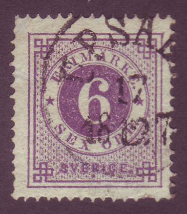 SW0020a5 Sweden Stamp # 20a VF Used Ring Stamp 1877-79