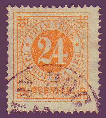 SW00245 Sweden Scott # 24 (orange)