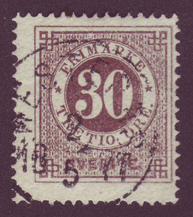 SW00255 Sweden Stamp # 25 F used, Ring Issue 1872-77